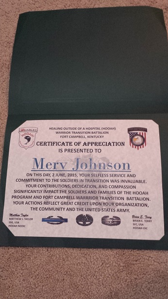Wounded Warrior certificate
